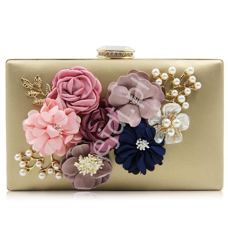 Złota wieczorowa torebka z kwiatami 3D ozdobionymi perełkami