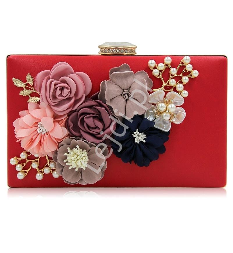 Czerwona wieczorowa torebka z kwiatami 3D ozdobionymi perełkami