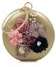 Złota okrągła wieczorowa torebka z kwiatami 3 D