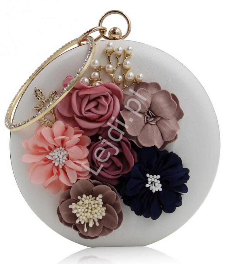 Wyjątkowa okrągła biała torebka z kwiatami 3D i perełkami