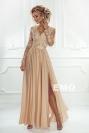 Długa zwiewna suknia na wesele | sukienka z długim koronkowym rękawem Luna ciemne złoto