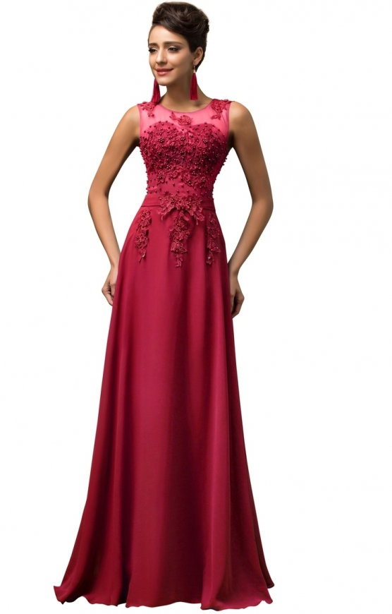 Długa wieczorowa suknia czerwone wino