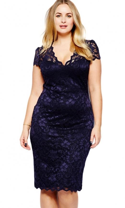 Granatowa koronkowa sukienka plus size