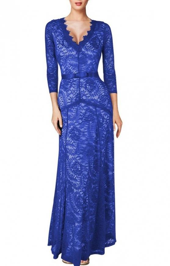 Sukienka w stylu Kate Middleton, niebieska koronkowa sukienka