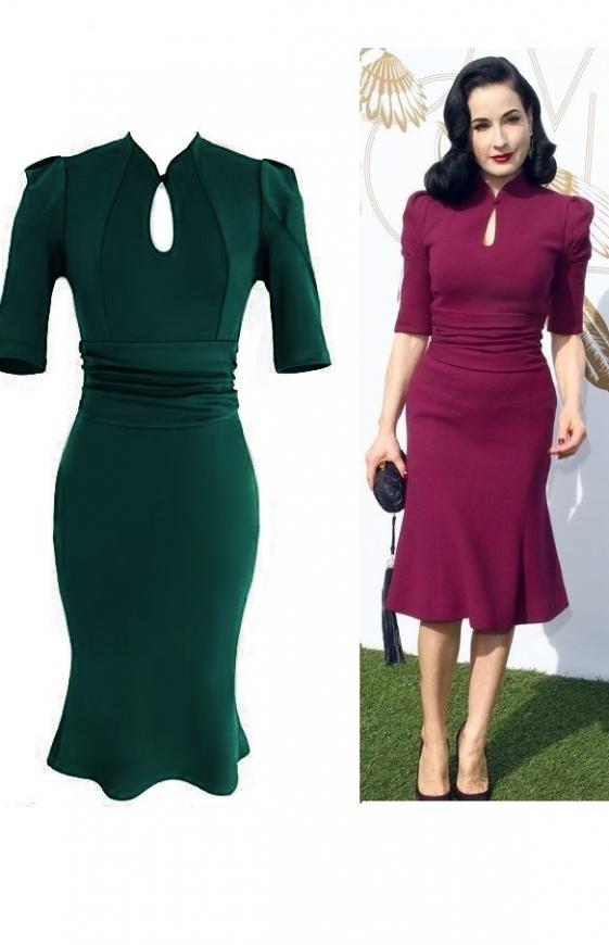 Sukienka w styu Dita Von Teese, zielona