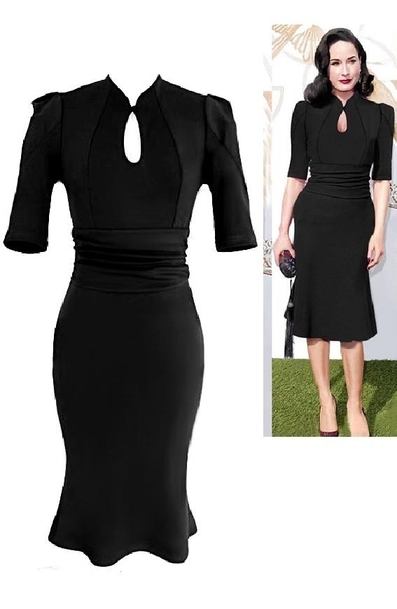 Czarna wizytowa sukienka w styu Dita Von Teese