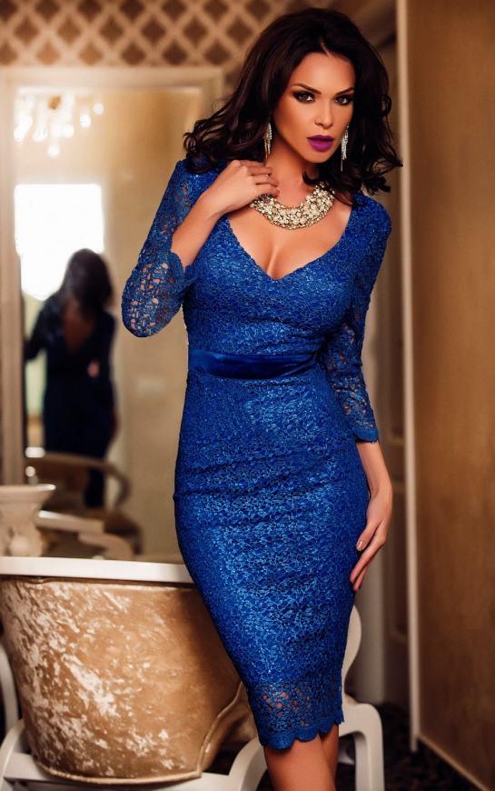 Koronkowa nibieska sukienka midi   sukienki na wesele, poprawiny, komunie