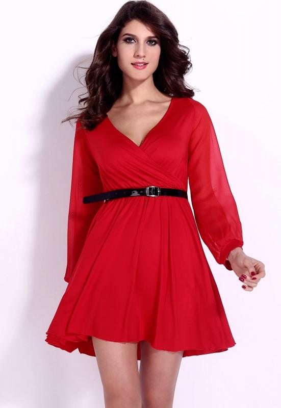 23eb04ba11 Czerwona sukienka z szyfonowymi rękawami