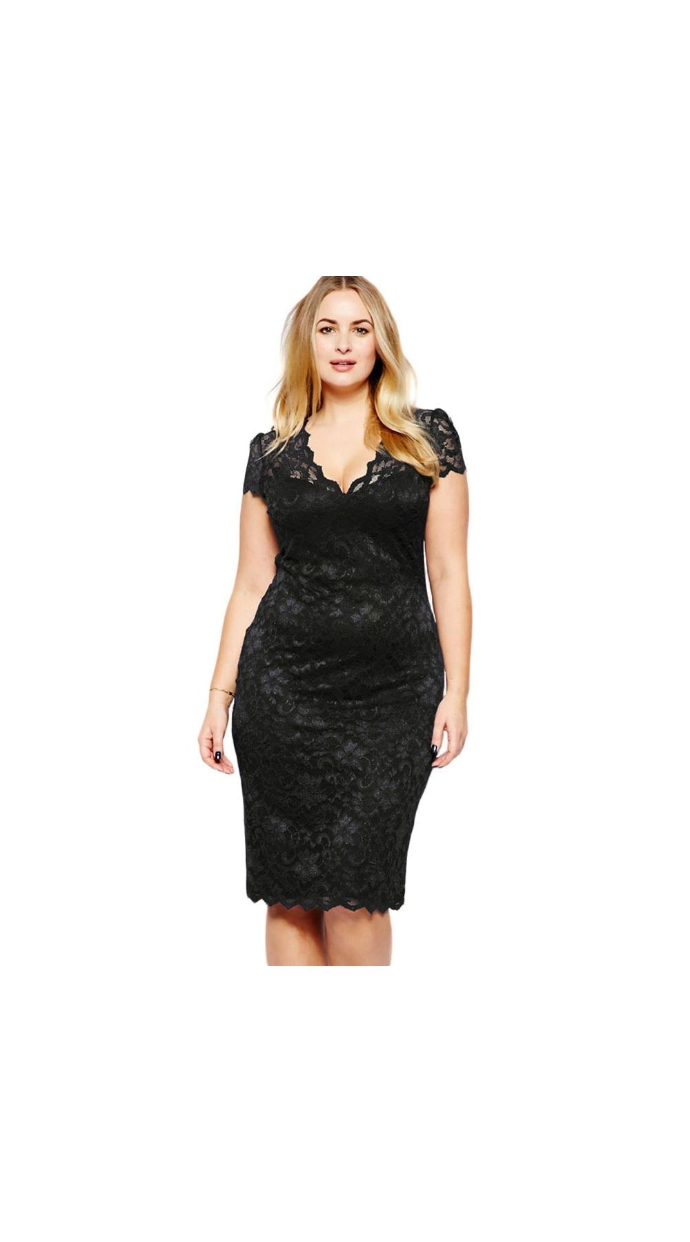 c0388c26e3 Czarna koronkowa sukienka plus size - Sklep internetowy StyliJa