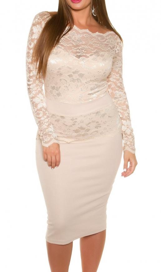 Koronkowa sukienka midi kolor beżowy