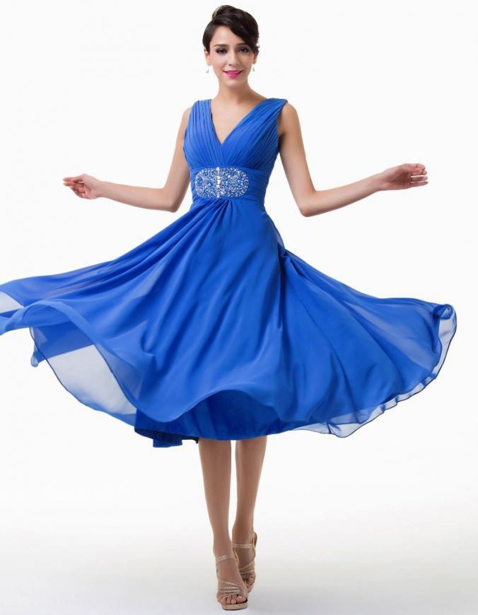 Niebieska sukienka 3/4 z kryształkami w pasie | sukienki na wesele, dla mamy