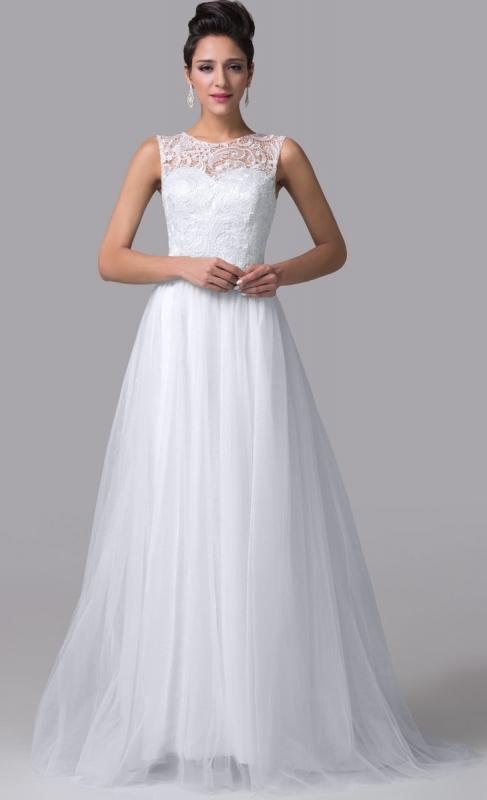Przepiękna Suknia ślubna Z Tiulowym Trenem Tanie Suknie ślubne