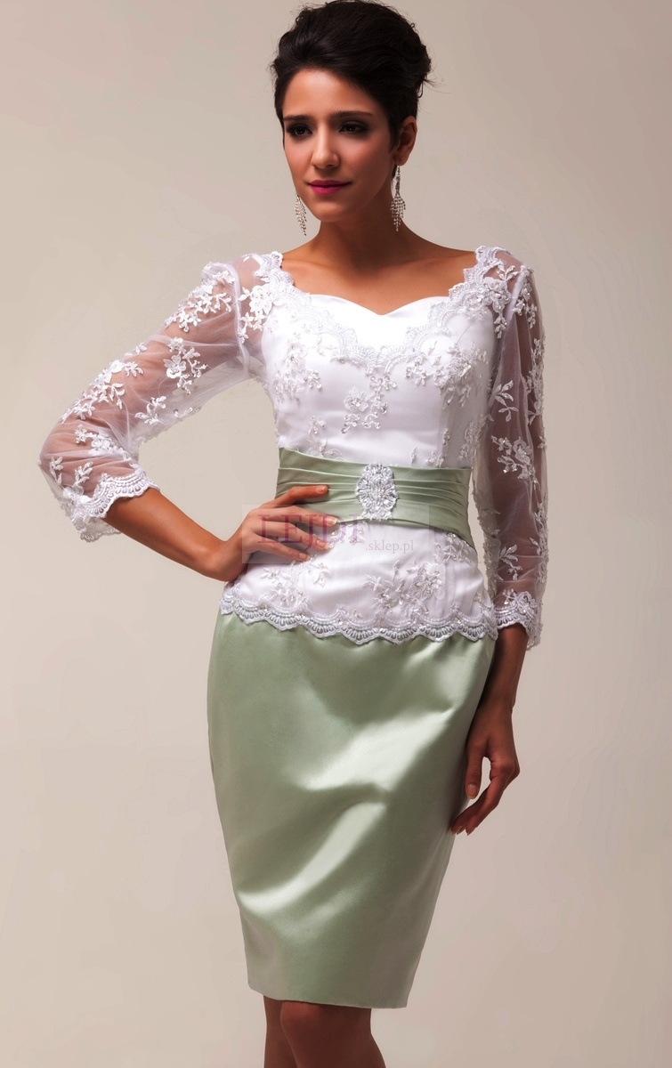 7a5bf06bd6 Elegancka sukienka biało zielona