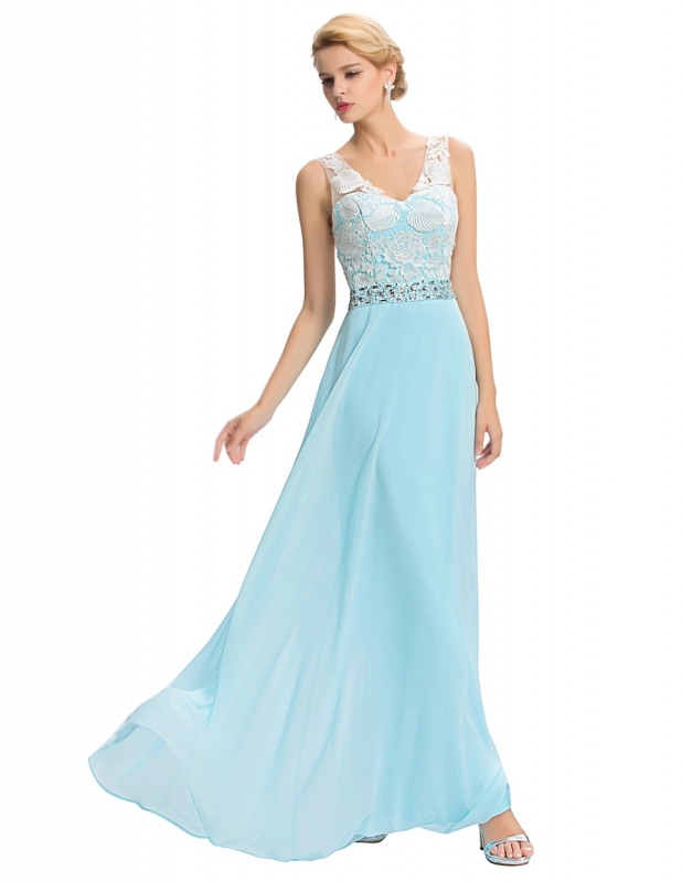 Długa turkusowa suknia z gipiurową koronką   długie suknie na studniówkę, na wesela