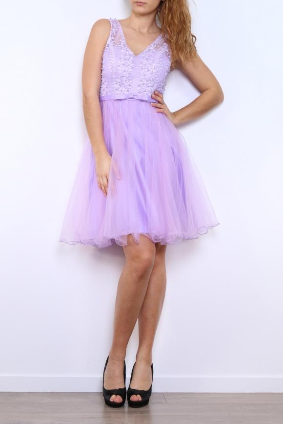 Wrzosowa sukienka z koronka i perełkami | sukienka na studniówkę na wesele 9095