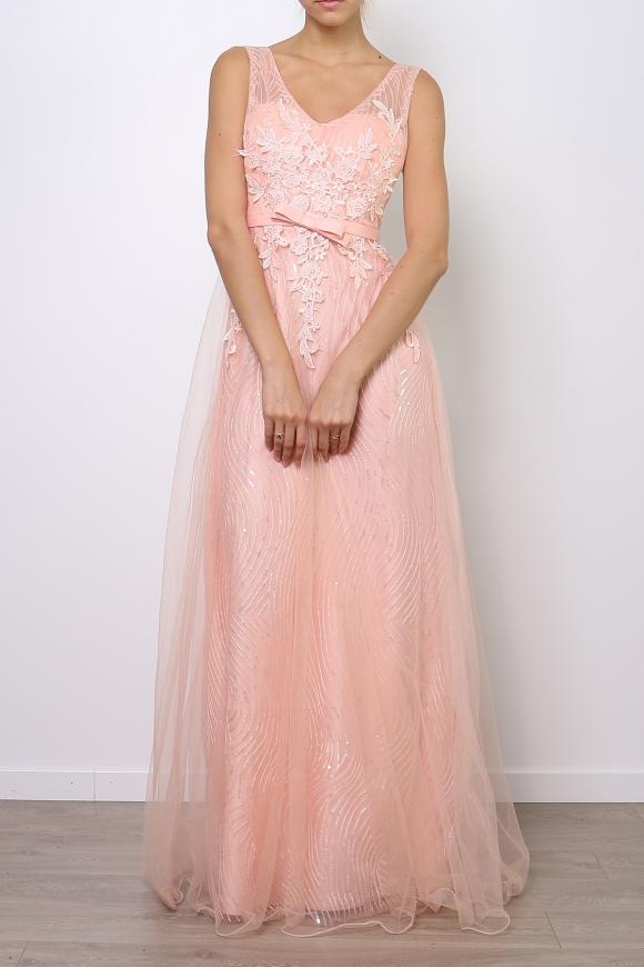 bbe22189b8 Granatowa długa suknia z koronką i cekinami
