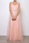 Jasnoróżowa długa suknia z koronką i cekinami   sukienka na studniówkę na wesele