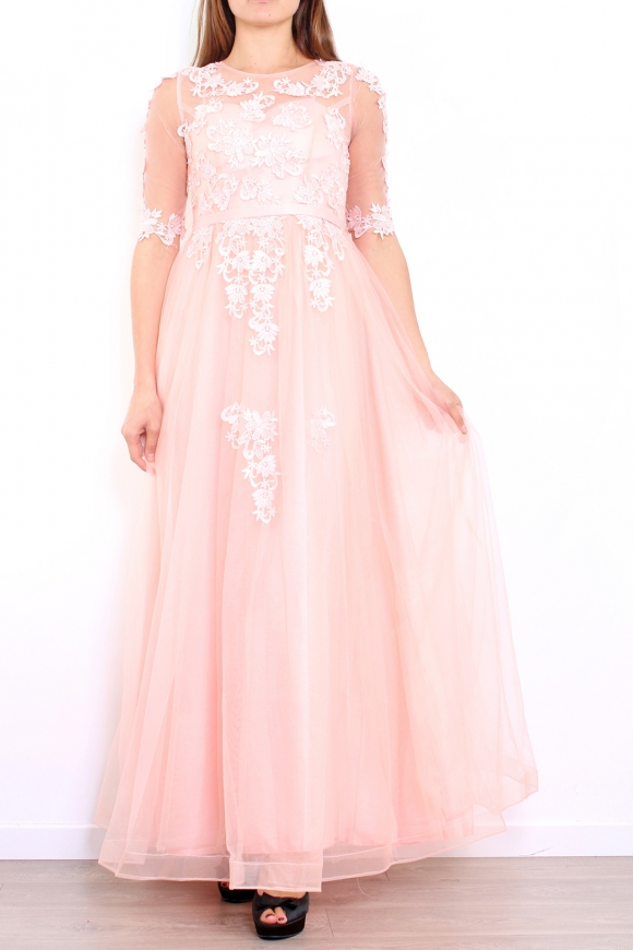 22e09c5a1a Jasno różowa długa suknia z gipiurową koronką z rękawkami