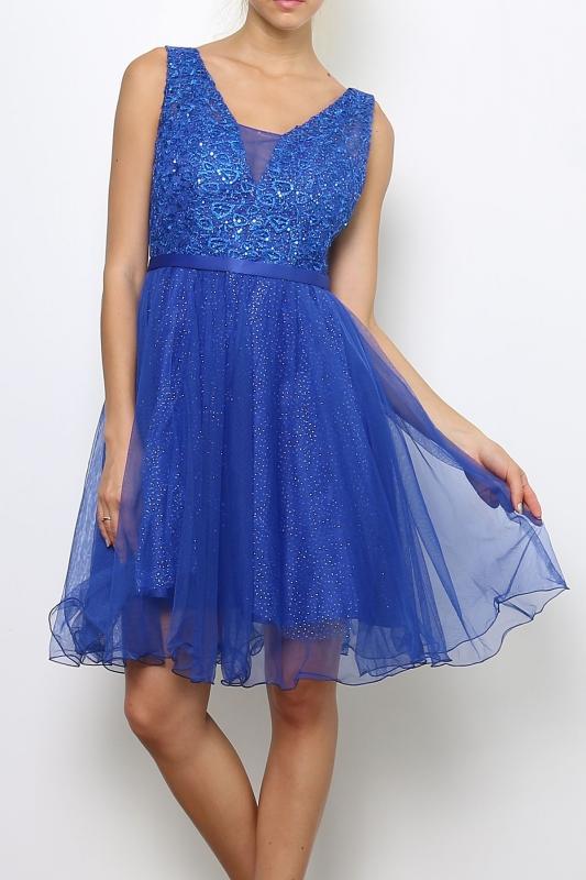 d7c74174f1 Chabrowa sukienka z koronką i cekinami
