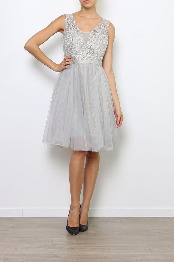 Srebrna sukienka z koronka i cekinami | sukienka na studniówkę na wesele