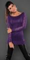 Dzianinowa tunika  w kolorze fioletowym, ozdobiona jetami i paskami koronki.