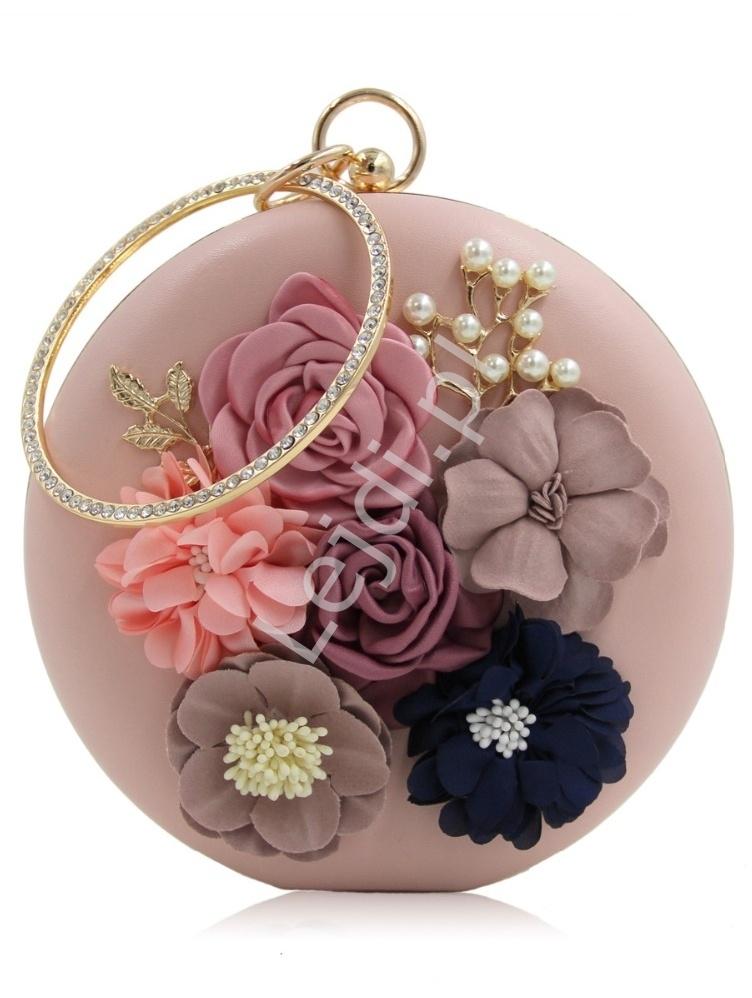 182fff246107c Unikatowa okrągła torebka w kolorze pudrowego różu z kwiatami 3D i ...