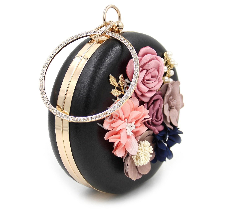 c1b5e63051a16 Unikatowa okrągła czarna torebka z kwiatami 3D i perełkami - Sklep ...
