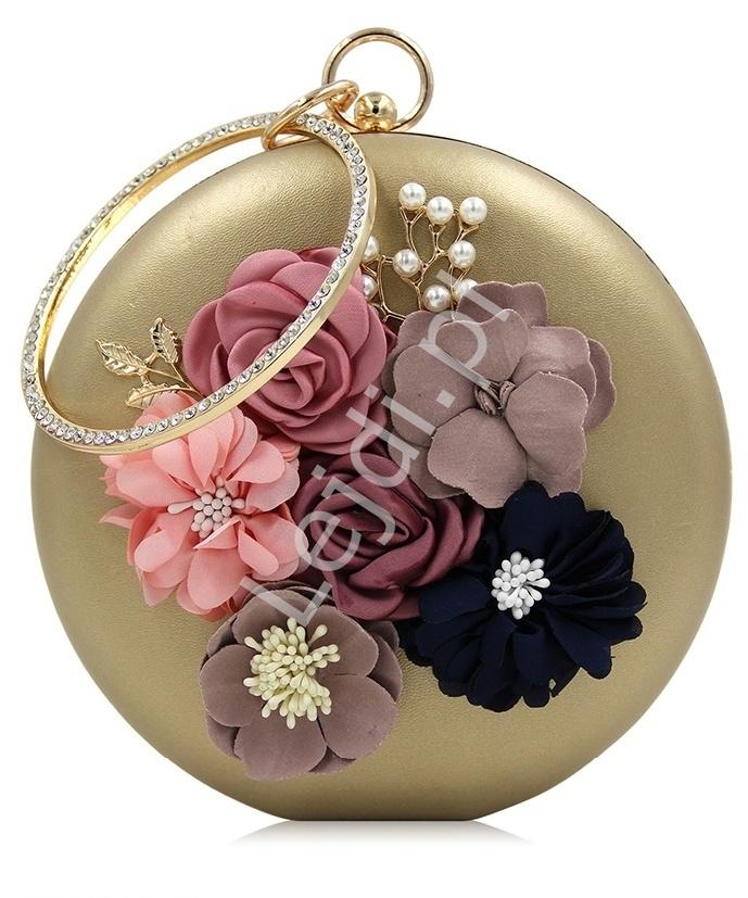 e2953c534d Unikatowa okrągła złota torebka z kwiatami 3D i perełkami - Sklep ...