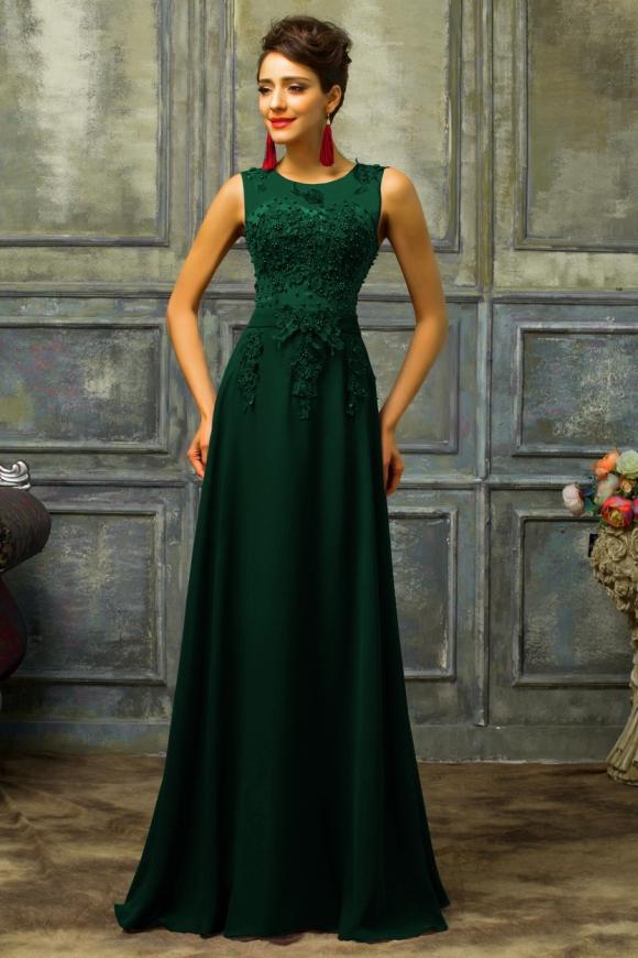 Długa wieczorowa suknia - butelkowa zieleń