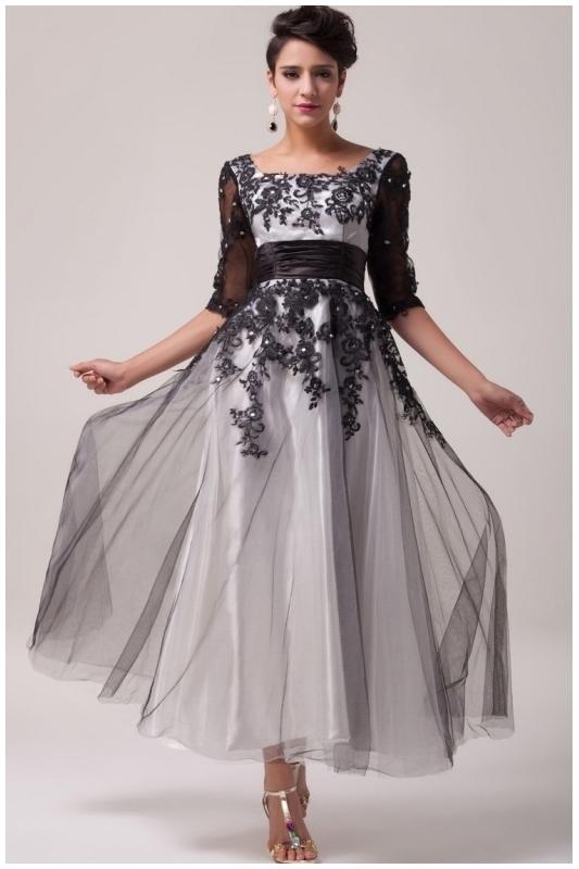 e41f494e8ff666 Biało czarna tiulowa sukienka midi | Sukienka wieczorowa - Sklep ...