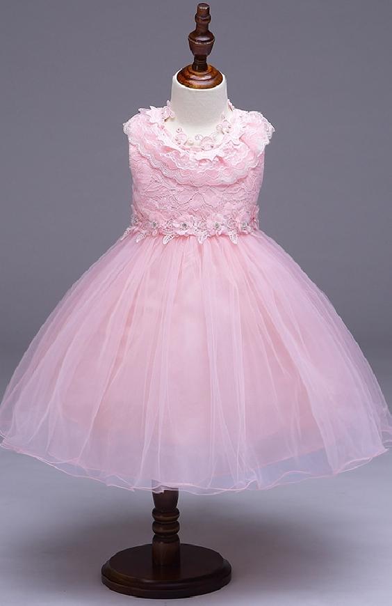 Sukienka tiulowa dla dziewczynki w kolorze jasno różowym