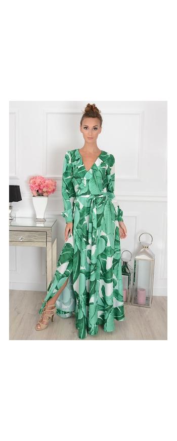 Zwiewna zielona suknia z motywem roślinnym Selena| sukienka Małgorzata Rozenek Majdan