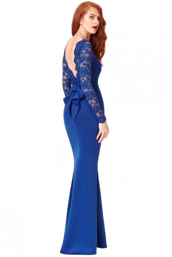Suknia wieczorowa kobaltowa z kokardą z tyłu - Goddiva