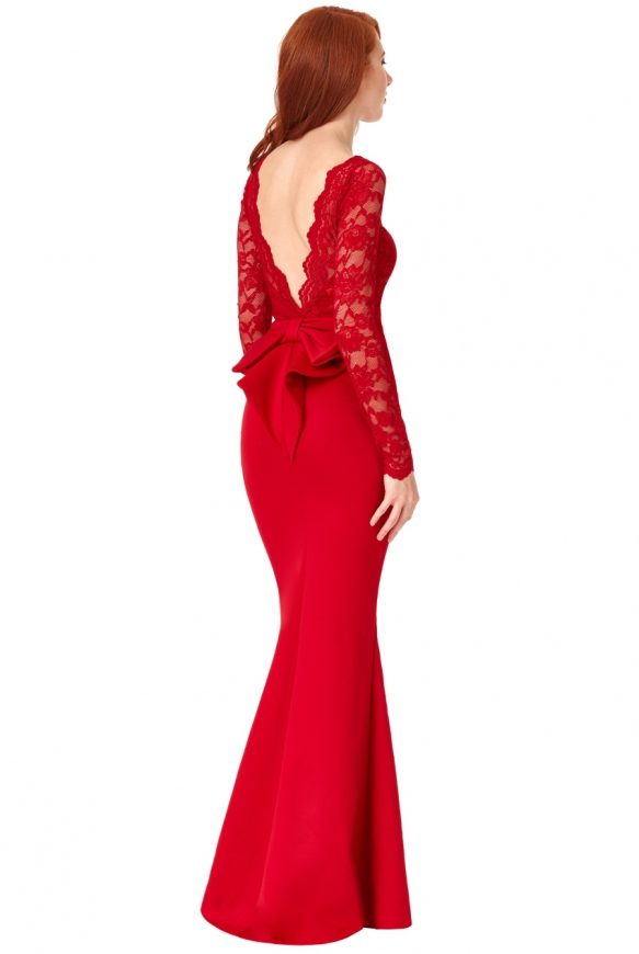 Czerwona długa sukienka wieczorowa z kokardą z tyłu - Goddiva