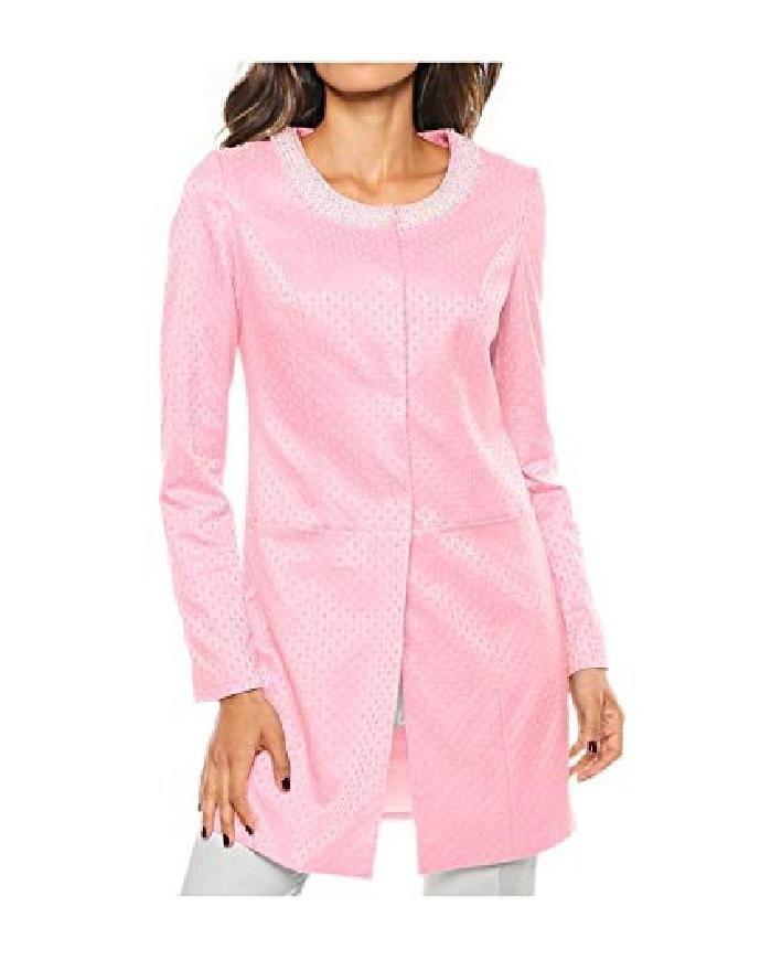 Żakardowy płaszcz jasno różowy z perełkami | wieczorowy płaszcz Heine, Ashley Brooke
