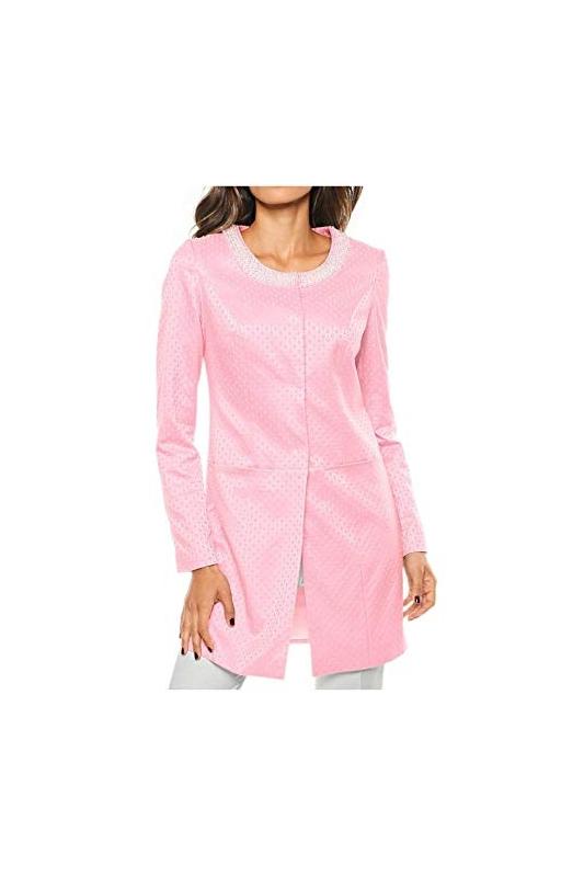 fae81e3447 Żakardowy płaszcz jasno różowy z perełkami