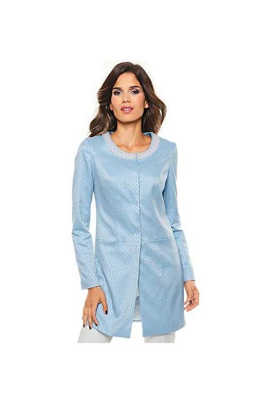 3c097dc61d Błękitny żakardowy płaszcz z perełkami