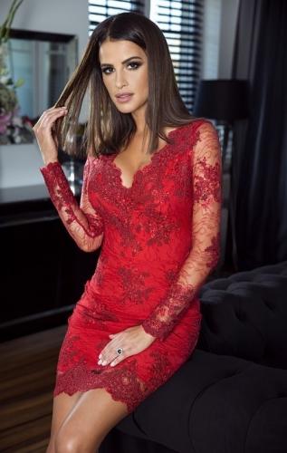 Czerwona koronkowa sukienka wieczorowa - Diana