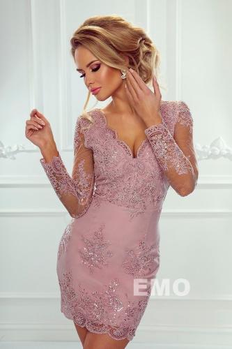 Elegancka koronkowa sukienka w kolorze pustynnego różu - Diana