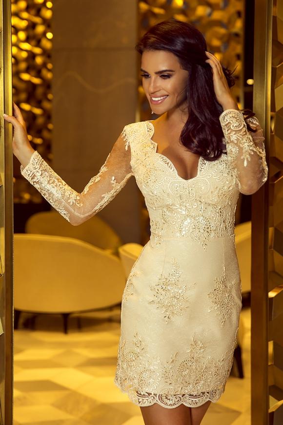 787c3df69d Elegancka koronkowa sukienka z długim rękawem - złota Diana
