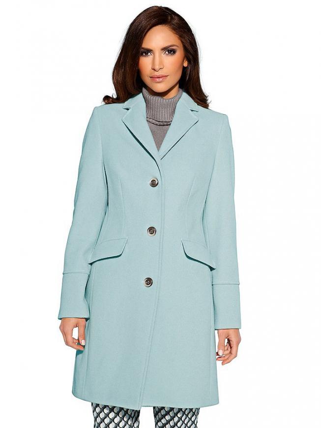 Wełniany płaszcz o klasycznym kroju - błękitno- miętowy