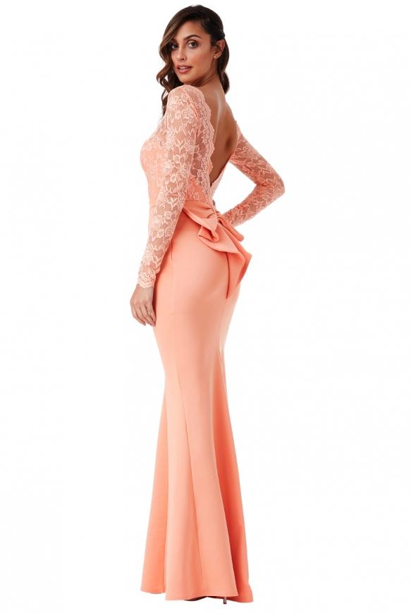 Brzoskwiniowa suknia wieczorowa z kokardą z tyłu - Goddiva