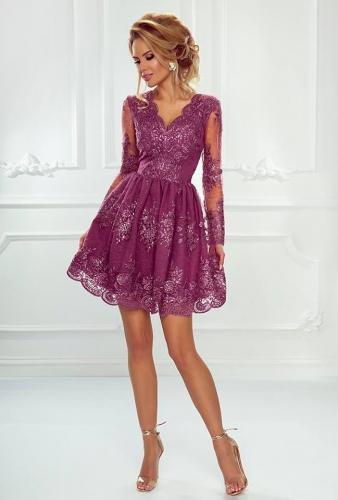 Koronkowa sukienka rozkloszowana w kolorze śliwkowym - Amelia