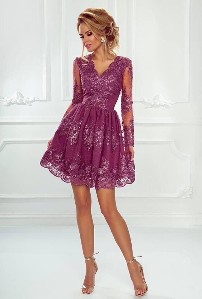 f197bc3294 Koronkowa sukienka rozkloszowana w kolorze śliwkowym - Amelia ...