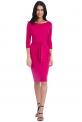 Elegancka sukienka z wiązaniem w pasie - kolor fuksja
