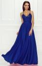 Chabrowa sukienka wieczorowa z rozporkiem ukazującym nogę - Bella