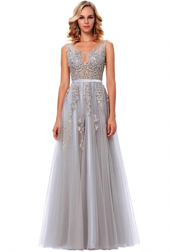 Tiulowa suknia dla druhny, na wesele | długa szara sukienka