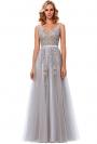 Szara tiulowa suknia dla druhny, na studniówkę| długa sukienka z odkrytymi plecami