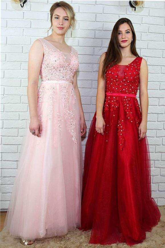 Tiulowa suknia na studniówkę, na wesele, dla druhny | długa sukienka ciemne wino