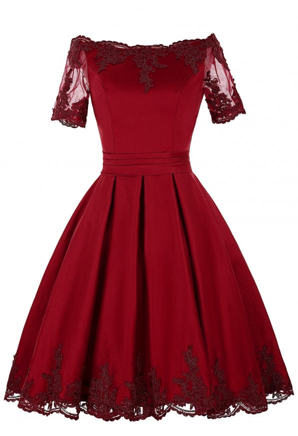 Sukienka wieczorowa ciemne wino z gipiurową koronką